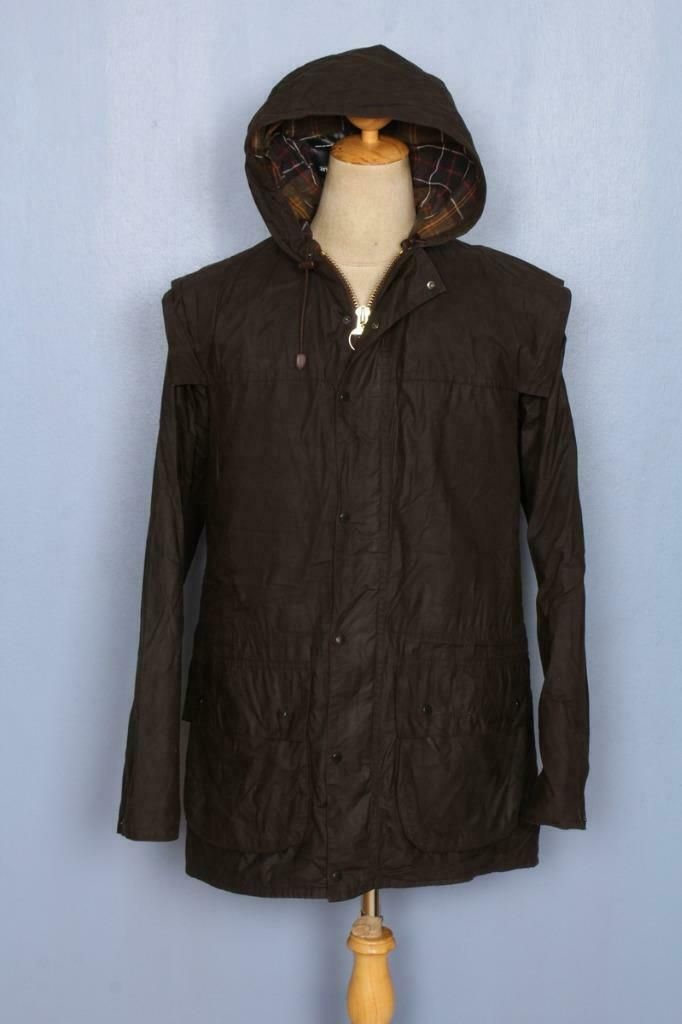 Barbour Classic Durham Hooded Waxed Jacket Olive Size 38